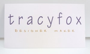 tracy fox new handmade business card with scrap of hand dyed fabric