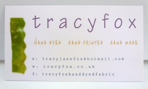 tracy fox new handmade business card with scrap of green hand dyed fabric