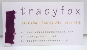 tracy fox new handmade business card with scrap of purple hand dyed fabric