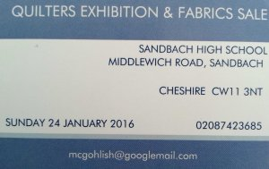Quilters Exhibition and Fabrics Sales Sandbach 2016