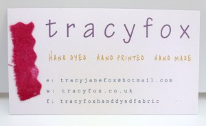tracy fox new handmade business card with scrap of red hand dyed fabric