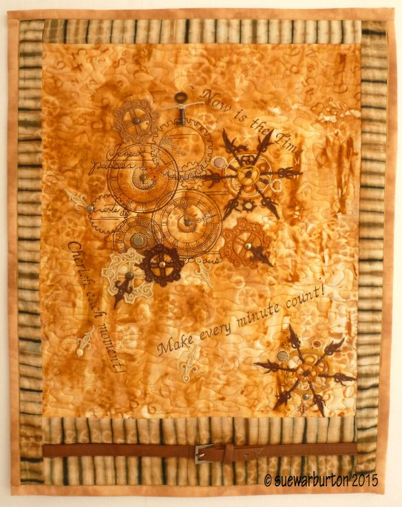 Sue Warburton Now Is The Time made using rust fabric from t r a c y f o x