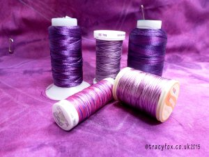 Under My Needle Purple Cushion thread choices by t r a c y f o x