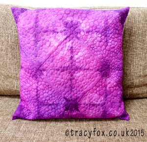 Hand dyed Shibori Free Motion Quilted Cushion 1 by t r a c y f o x
