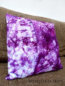 Hand dyed Shibori Free Motion Quilted Cushion 5 by t r a c y f o x