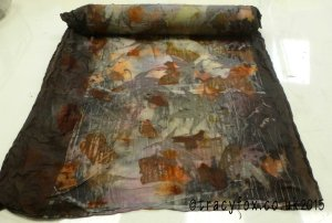 2015 Aug Eco Printing Silk Satin Scarf revealed t r a c y f o x