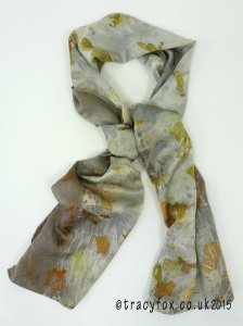2015 Sept 14 Eco Printing Silk Satin Scarf 1