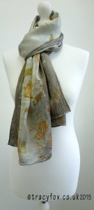 2015 Sept 14 Eco Printing Silk Satin Scarf 2