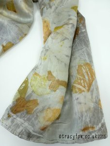 2015 Sept 14 Eco Printing Silk Satin Scarf 4