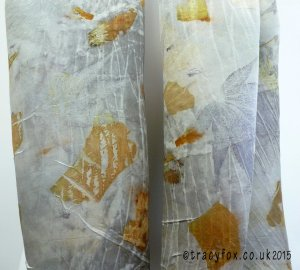 2015 Sept 14 Eco Printing Silk Satin Scarf 5