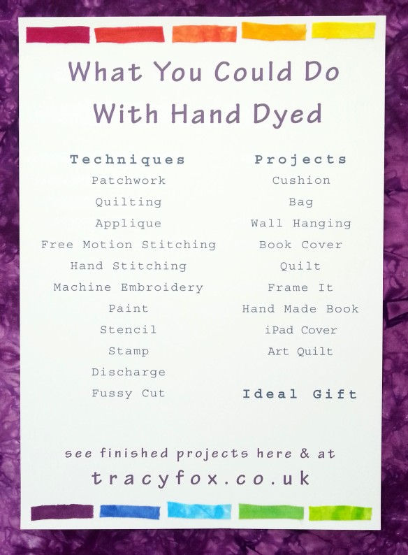 2015 Oct 12 What You Could Do With Hand Dyed List t r a c y f o x