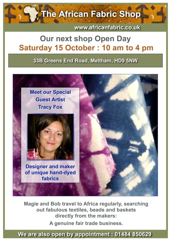 2016 Oct Flyer for African Fabric Shop with Tracy Fox